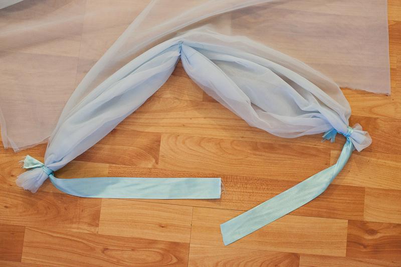 Suknia błękitna z szyfonu